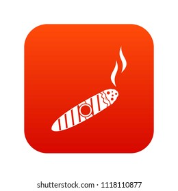 Cigar icon digital red for any design isolated on white illustration