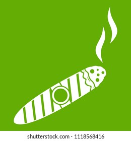 Cigar icon white isolated on green background. illustration