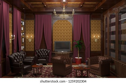 cigar room, smoking lounge, interior visualization, 3D illustration