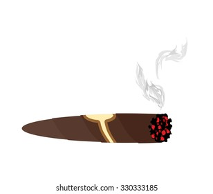 Cigar and smoke on a white background. An expensive Cuban cigar illustration