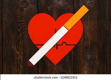 Cigarette and heart with echocardiogram. Health or quit smoking concept. Abstract conceptual image