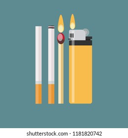 cigarette, match and lighter. Stock flat  illustration