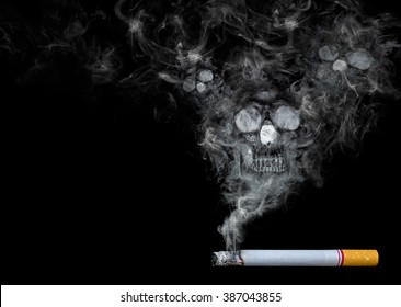 Cigarette and smoke as skull on black background
