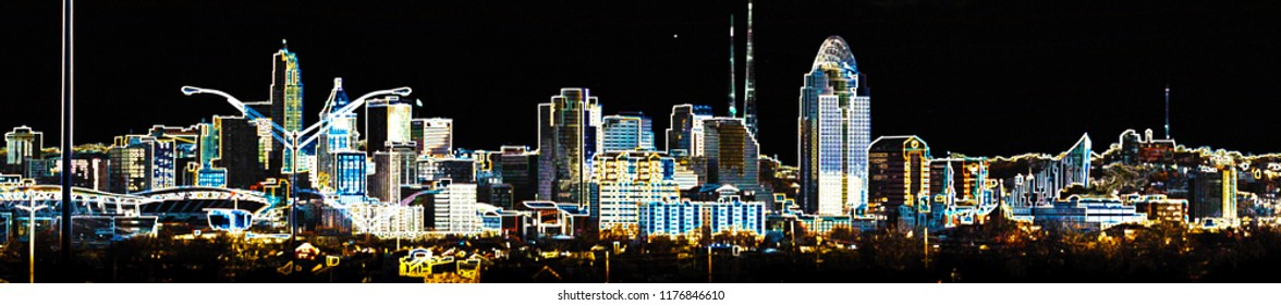 Cincinnati skyline digital art effect glowing edges looking from Kentucky