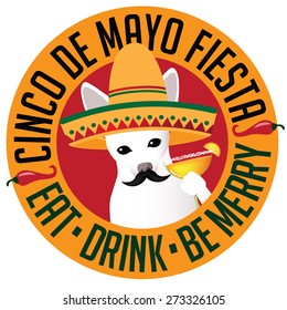 Cinco De Mayo Chihuahua sombrero margarita icon royalty free stock illustration for greeting card, ad, promotion, poster, flier, blog, article, social media, marketing