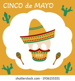 CInco de Mayo greeting card with a skull that is wearing a mask because of coronavirus. Flat illustraion.