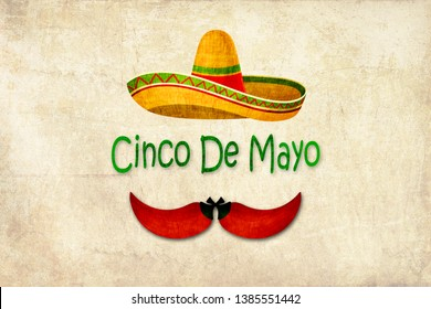 """Cinco de Mayo illustration with yellow Mexican sombrero and chili designing a mustache. In the middle the text """"Cinco de Mayo"""" (means 5th May). Textured background"""