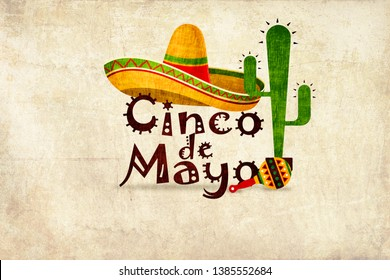 """Cinco de Mayo illustration with yellow Mexican sombrero over the text """"Cinco de Mayo"""" (means 5th May). Textured background, maracas and cactus in the front"""
