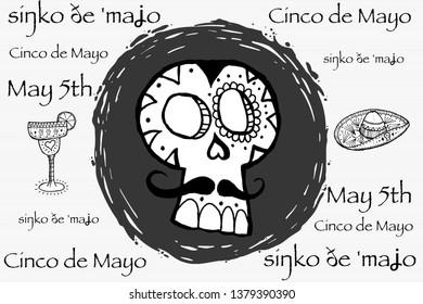 Cinco de Mayo May 5 restaurant advertisement. Anniversary of the Battle of Puebla. Mexican skull candy for cinco de Mayo.