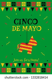 Cinco de mayo party poster template. Festive green illustration with native pinata and garland flags for traditional Mexican celebration on cinco de mayo. For restaurant menu or promo flyer.