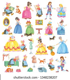 Cinderella. Big set of Cinderella characters. Fairy tale. Coloring book. Coloring page. Set of cute and funny cartoon characters isolated on white background