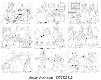 Cinderella bundle. Fairy tale. Set of Cinderella illustrations. Coloring book. Coloring page. Cute and funny cartoon characters