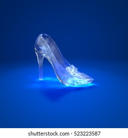 Cinderella crystal slipper on dark blue background side view 3D illustration