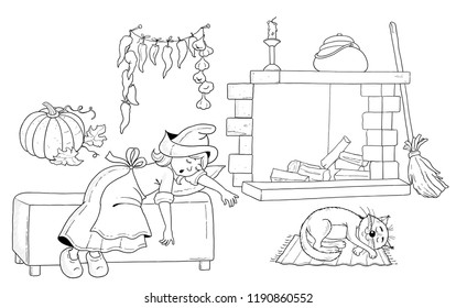 Cinderella. Fairy tale. Coloring book. Coloring page. Illustration for children. Cute and funny cartoon characters