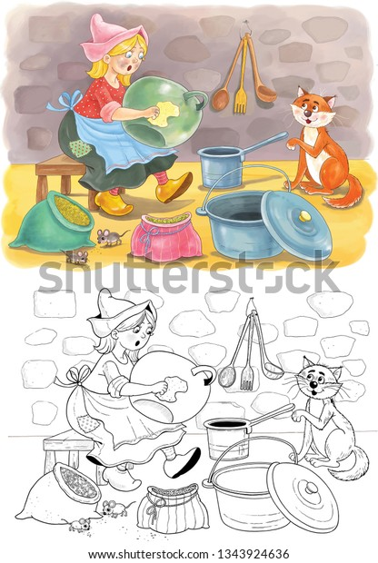 Cinderella Fairy Tale Coloring Book Coloring Stock ...