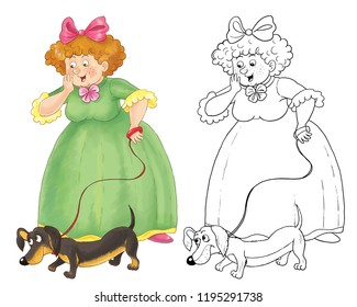 Cinderella. Fairy tale. Coloring page. Illustration for children. Character design. Cute and funny cartoon characters