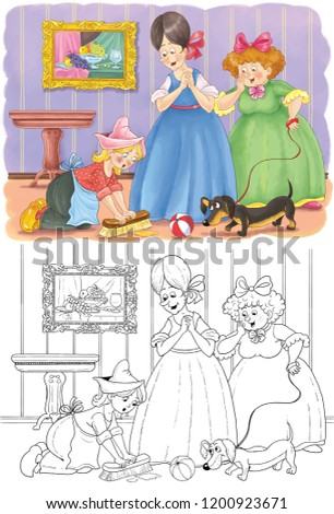 Cinderella Fairy Tale Coloring Page Coloring Stock Illustration