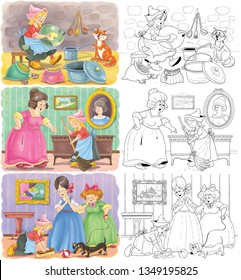 Cinderella. Fairy tale. Set of Cinderella illustrations. Coloring book. Coloring page. Illustration for children. Cute and funny cartoon characters