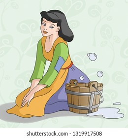 Cinderella fairytale character illustration. Cinderella's getting tired on the floor. Cinderella cleaning the floor.