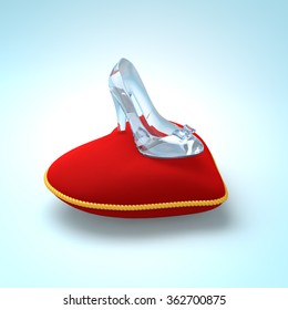 Cinderella glass slipper on the red heart pillow left view