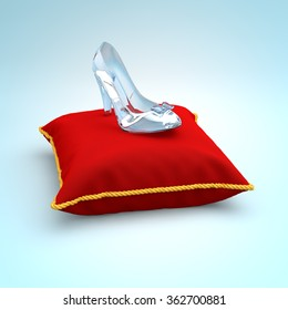 Cinderella glass slipper on the red pillow left view