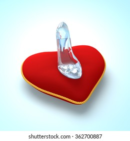 Cinderella glass slipper on the red heart pillow top view