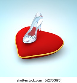 Cinderella glass slipper on the red heart pillow right view