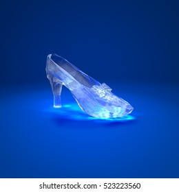 Cinderella glass slipper on the red pillow side view 3D illustration