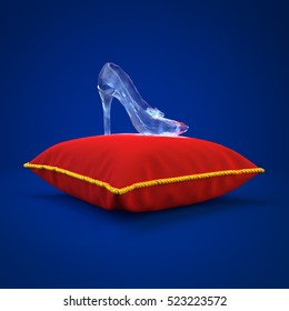 Cinderella glass slipper on the red pillow side view 3D rendering