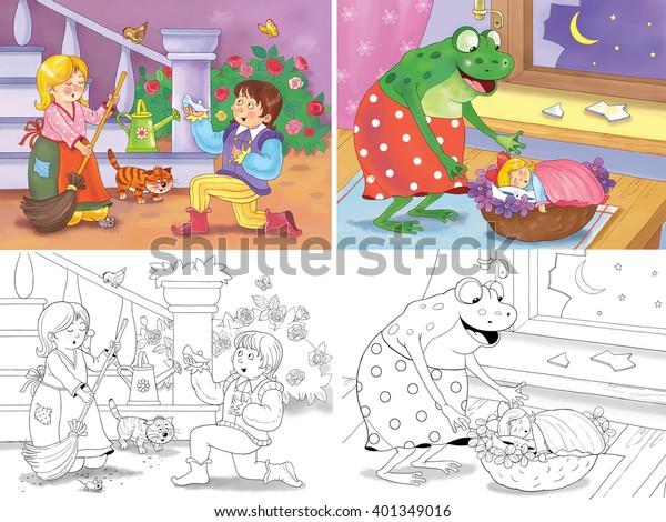 Cinderella Thumbelina Two Fairy Tales Illustration Stock ...