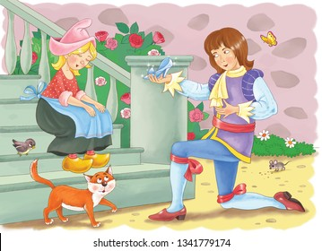 Cinderella.Fairy tale. Coloring page. Cinderella and prince. Illustration for children. Cute and funny cartoon characters