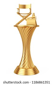 Cinema Award Concept. Golden Award Trophy Director Chair, Movie Clapper and Megaphone on a white background. 3d Rendering.