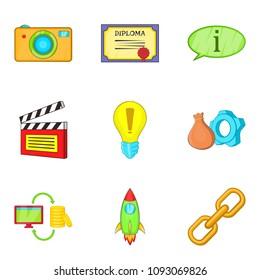 Cinema biz icons set. Cartoon set of 9 cinema biz icons for web isolated on white background