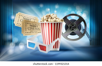Cinema blue background. Concept 3d illustration with objects of film industry bucket with popcorn, glasses, movie tickets, reel, stage, curtain. Design template for poster, ad, banner