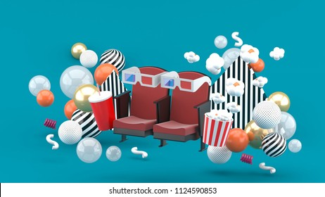 Cinema chair Soft drinks and popcorn among the colorful balls on the blue background.-3d rendering.
