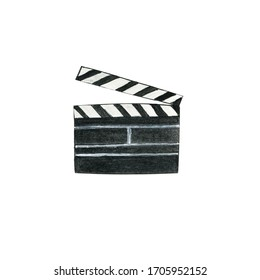 Cinema clapper for shooting movies and programs. Watercolor hand drawn illustration in realistic style in black color. Concept of entertainment, watching TV, director and producer work equipment