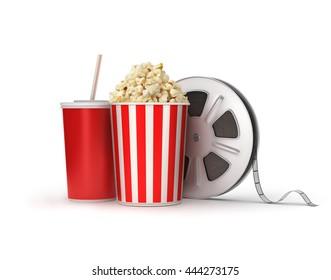 Cinema concept: film reels, popcorn, cola,3d illustration