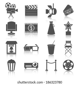Cinema entertainment icons set of film popcorn movie tickets theatre chairs and projector lamp  illustration