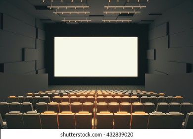 Cinema hall interior with rows of seats, patterned walls, ceiling with lamps and blank white screen. Mock up, 3D Rendering