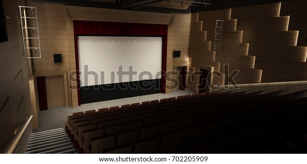 Cinema hall interior with rows of seats and blank white screen. Mock up, 3D Rendering. 3d Illustration.