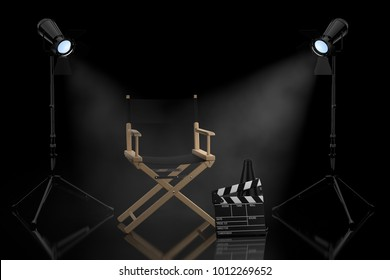 Cinema Industry Concept. Director Chair, Movie Clapper and  Spotlights on a black background. 3d Rendering.