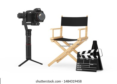 Cinema Industry Concept. DSLR or Video Camera Gimbal Stabilization Tripod System near Director Chair, Movie Clapper and Megaphone on a white background. 3d Rendering
