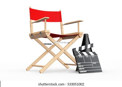 Cinema Industry Concept. Red Director Chair, Movie Clapper and Megaphone on a white background. 3d Rendering