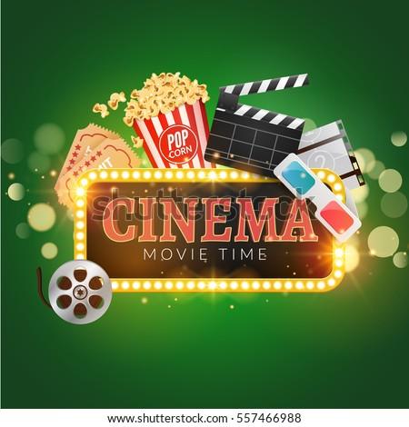 cinema movie poster design template popcornのイラスト素材 557466988