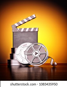 Cinema, movie production and cinematography concept, vintage film reels with containers and clapper board on yellow background, 3d illustration
