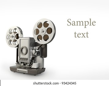 cinema projector isolated on white High resolution 3D