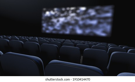 Cinema room during the film show. View from the back row. 3d rendering