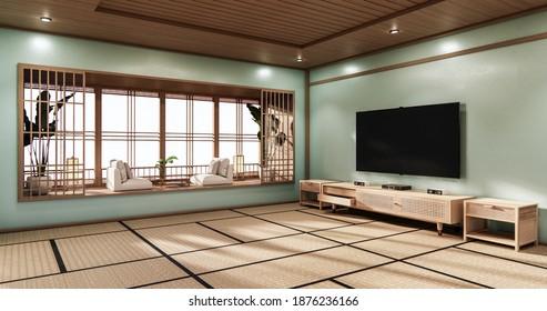 Cinema room minimal design Japanese style, mint room .3D rendering