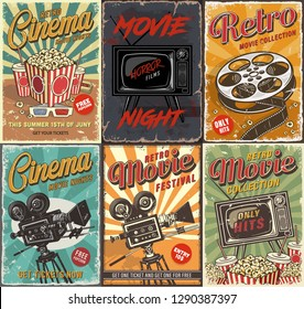 Cinema set of posters.  vintage illustration.