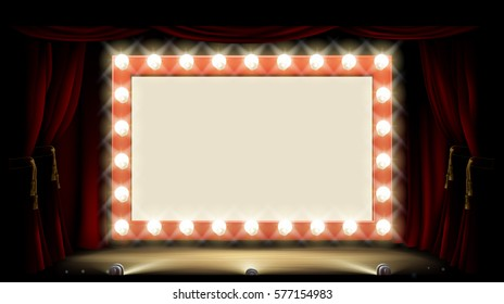 Cinema or theatre with light bulb sign